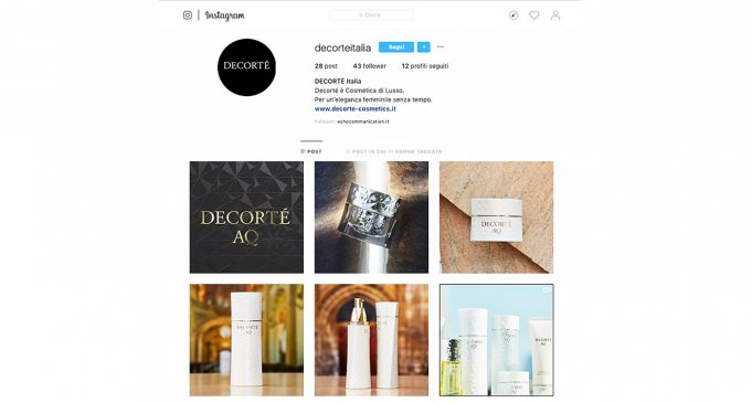 Decorte approda su Instagram e Facebook